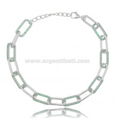 CABLE BRACELET EXTENDED MM 7X3.5 IN SILVER RHODIUM TIT 925 AND GREEN ZIRCONS CM 18-20