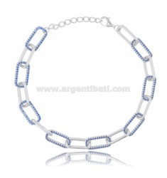 CABLE BRACELET EXTENDED MM 7X3,5 IN SILVER RHODIUM TIT 925 AND BLUE ZIRCONS CM 18-20