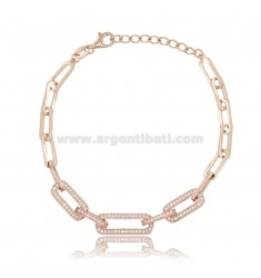 7 MM STRETCH BRACELET IN ROSE SILVER TIT 925 AND WHITE ZIRCONIA CM 17-20