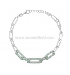 STRETCHED BRACELET 7 MM IN SILVER RHODIUM TIT 925 AND GREEN ZIRCONIA CM 17-20