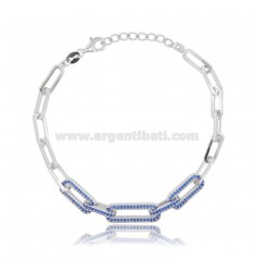 BRACELET STRETCH EXTENDED 7 MM SILVER RHODIUM TIT 925 AND BLUE ZIRCONIA CM 17-20