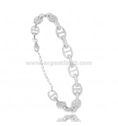 BRACELET MESH BASTIMENTO 7 MM IN RHODIUM-PLATED SILVER TIT 925 AND WHITE ZIRCONS 17-20 CM