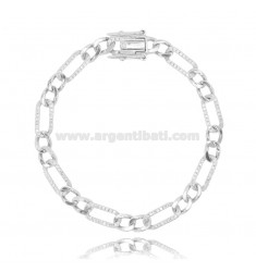 BRACELET 2 1 MM 6 SILVER RHODIUM-PLATED TIT 925 AND WHITE ZIRCONS 17-20 CM