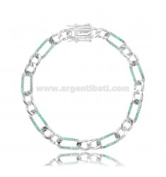 BRACELET 2 1 MM 6 IN SILVER RHODIUM-PLATED TIT 925 AND GREEN ZIRCONS CM 17-20