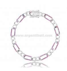 BRACELET 2 1 MM 6 IN SILVER RHODIUM-PLATED TIT 925 AND RED ZIRCONS CM 17-20
