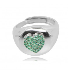 ROUND RING MM 14 WITH HEART IN RHODIUM-PLATED SILVER TIT 925 AND GREEN ZIRCONS, ADJUSTABLE SIZE OF 14