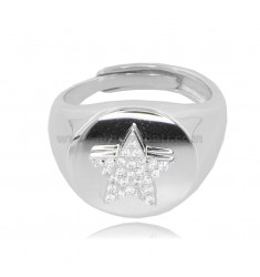 ROUND RING MM 14 WITH STAR IN SILVER RHODIUM TIT 925 AND WHITE ZIRCONS, ADJUSTABLE SIZE 14