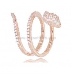SNAKE RING IN ROSE SILVER TIT 925 AND WHITE ZIRCONS SIZE FROM 18