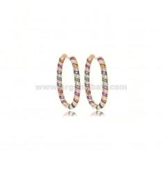 OVAL EARRINGS MM 15X25 IN ROSE SILVER TIT 925 AND COLORED ZIRCONIA