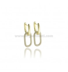 EARRINGS SNAP IN SILVER GOLDEN TIT 925 AND WHITE ZIRCONIA