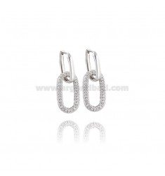 EARRINGS SNAP IN SILVER RHODIUM TIT 925 AND WHITE ZIRCONS