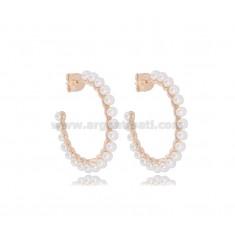 HOOP EARRINGS DIAM 25 IN ROSE SILVER TIT 925 AND PEARLS