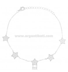 CABLE BRACELET WITH 5 STARS IN SILVER RHODIUM TIT 925 AND WHITE ZIRCONS CM 18-21