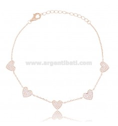 CABLE BRACELET WITH 5 HEARTS IN ROSE SILVER TIT 925 AND WHITE ZIRCONS CM 18-21