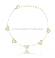 CABLE BRACELET WITH 5 HEARTS IN SILVER GOLDEN TIT 925 AND WHITE ZIRCONS CM 18-21