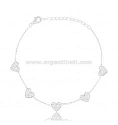 CABLE BRACELET WITH 5 HEARTS IN RHODIUM-PLATED SILVER TIT 925 AND WHITE ZIRCONS CM 18-21