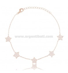 CABLE BRACELET WITH 5 STARS IN ROSE SILVER TIT 925 AND WHITE ZIRCONS CM 18-21