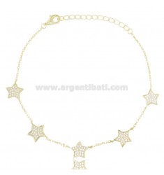 CABLE BRACELET WITH 5 STARS IN SILVER GOLDEN TIT 925 AND WHITE ZIRCONS CM 18-21