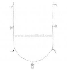 BALLS NECKLACE WITH STARS AND MOON PENDANTS IN SILVER RHODIUM TIT 925 AND WHITE ZIRCONS CM 42-45