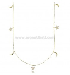 BALLS NECKLACE WITH STARS AND MOON PENDANTS IN SILVER GOLDEN TIT 925 AND WHITE ZIRCONS CM 42-45