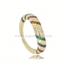 TIT 925 GOLDEN SILVER RING AND COLORED ZIRCONIA ADJUSTABLE SIZE FROM 12