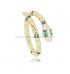 SNAKE RING IN GOLDEN SILVER TIT 925 AND WHITE AND GREEN ZIRCONIA ADJUSTABLE SIZE FROM 18