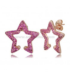 STAR EARRINGS 18X20 MM IN ROSE SILVER TIT 925 AND RED ZIRCONIA