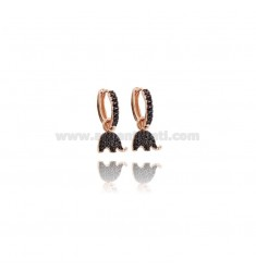 HOOP EARRINGS MM 10 WITH ELEPHANT PENDANT IN ROSE SILVER TIT 925 AND BLACK ZIRCONS