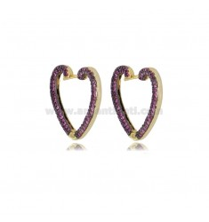 HEART EARRINGS 20X22 MM GOLDEN SILVER TIT 925 AND RED ZIRCONIA