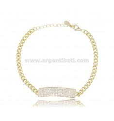 GROUMETTE BRACELET 3.5 MM WITH CENTRAL PLATE 7 MM IN SILVER GOLDEN TIT 925 AND WHITE ZIRCONS 16-20 CM