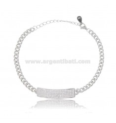 GROUMETTE BRACELET 3.5 MM WITH CENTRAL PLATE 7 MM SILVER RHODIUM TIT 925 AND WHITE ZIRCONS 16-20 CM