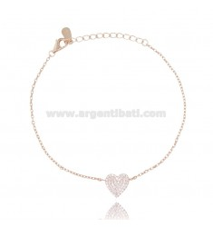 CABLE BRACELET WITH CENTRAL HEART IN ROSE SILVER TIT 925 AND WHITE ZIRCONS CM 18-20