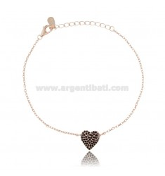 CABLE BRACELET WITH CENTRAL HEART IN ROSE SILVER TIT 925 AND BLACK ZIRCONS CM 18-20