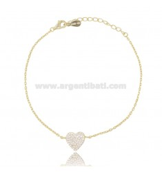 CABLE BRACELET WITH CENTRAL HEART IN SILVER GOLDEN TIT 925 AND WHITE ZIRCONS CM 18-20