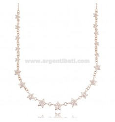 CABLE NECKLACE WITH STARS IN ROSE SILVER TIT 925 AND WHITE ZIRCONS CM 42-45