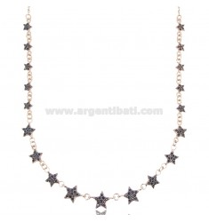 CABLE NECKLACE WITH STARS IN ROSE SILVER TIT 925 AND BLACK ZIRCONS CM 42-45