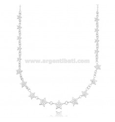 CABLE NECKLACE WITH STARS IN RHODIUM-PLATED SILVER TIT 925 AND WHITE ZIRCONS CM 42-45
