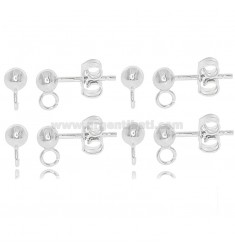 4 PAIRS OF PIN EARRINGS WITH Ø4 MM BALL AND 925 ‰ RHODIUM-PLATED SILVER ATTACK