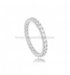 BEVERAGE RING IN SILVER RHODIUM-PLATED TIT 925 WITH WHITE ZIRCONS 1.8 MM SIZE 18