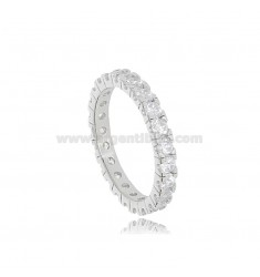 BEVERAGE RING IN SILVER RHODIUM-PLATED TIT 925 WITH WHITE ZIRCONS 2.5 MM SIZE 12