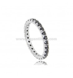 BEVERAGE RING IN SILVER RHODIUM-PLATED TIT 925 WITH BLACK ZIRCONS 1.8 MM SIZE 16
