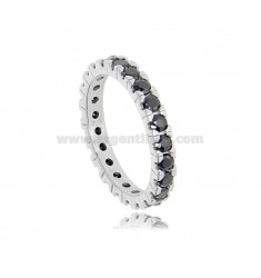 BEVERAGE RING IN SILVER RHODIUM-PLATED TIT 925 WITH BLACK ZIRCONS 2.5 MM SIZE 20