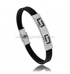 RUBBER BRACELET WITH PERFORATED STEEL PLATE WITH 2 BRASS POINTS
