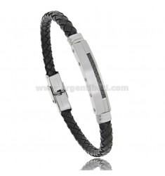 LEATHER BRACELET WITH STEEL AND CARBON FIBER PLATE