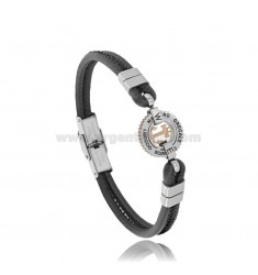 BRACELET WITH ANCHOR IN TWO-TONE STEEL AND BLACK LEATHER