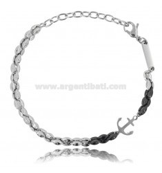 BRACELET WITH ANCHOR IN TWO-TONE STEEL
