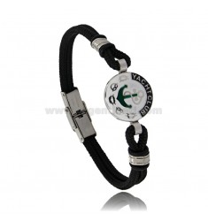 BRACELET WITH 18 MM ROUND AND ANCHOR IN BLACK ROPE 21 CM IN STEEL AND ENAMEL