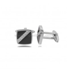 SQUARE CUFFLINKS MM 15X15 WITH STEEL BLACK STONE AND ZIRCONIA