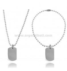 DOUBLE MILITARY MEDAL IN STEEL 24X16 MM WITH BALL CHAIN MM 2 CM 60
