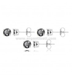 KIT PCS 3 LIGHT POINT EARRINGS WITH BLACK ZIRCON 5 MM IN RHODIUM-PLATED SILVER 925 ‰